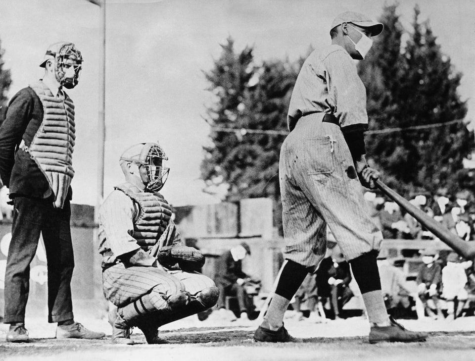 Baseball players wearing masks during the Flu epidemic of 1918.