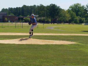 Damon Herbert pitching against the Senators