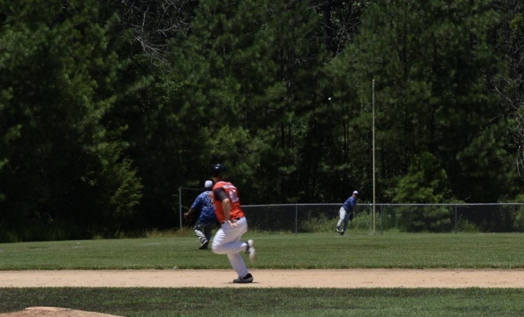 Base hit to left field