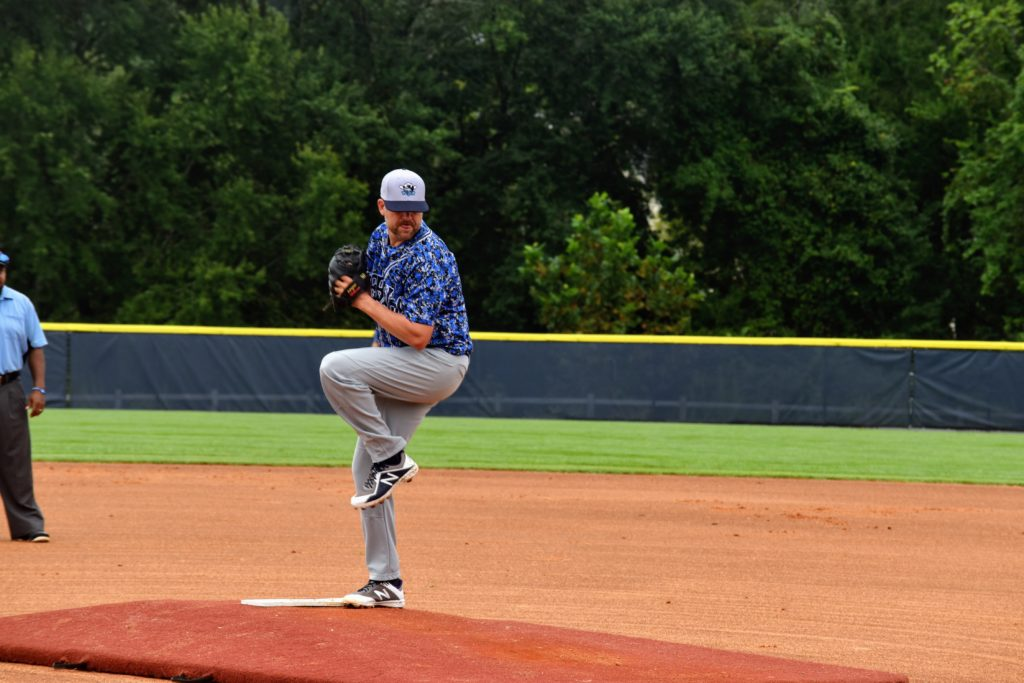 Damon Herbert pitching against the Fayetteville Mets on 8/22/2020