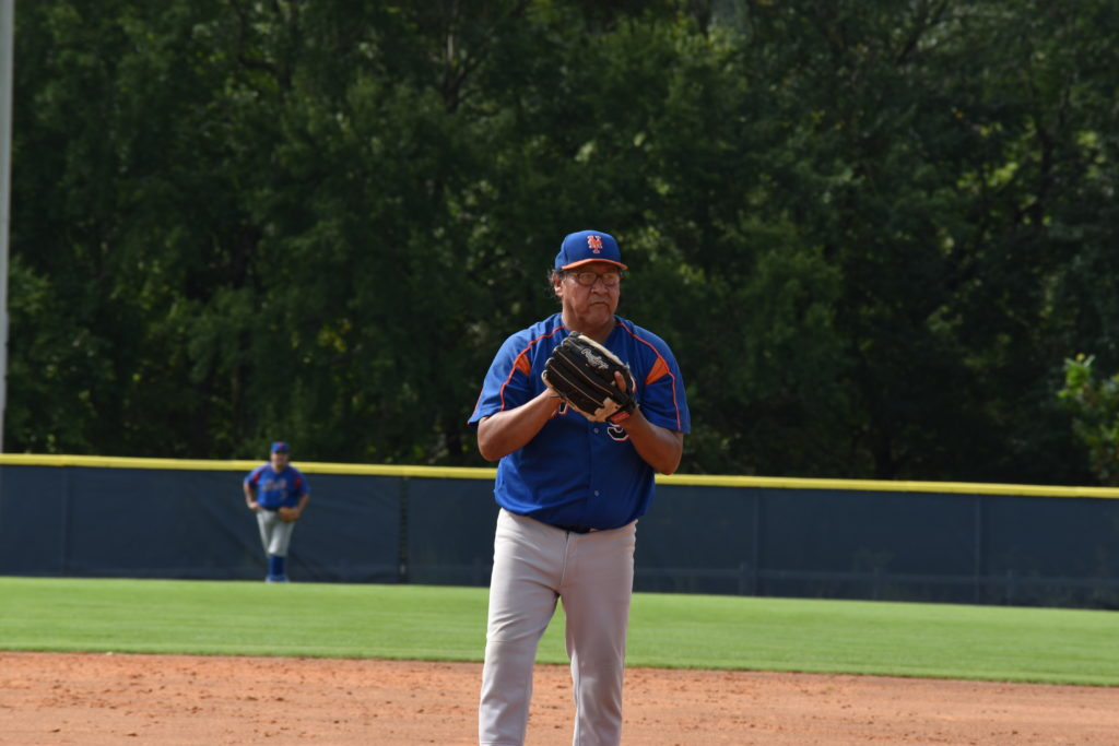 Larry Bowstring pitching against the Raleigh Rebels on 8/22/2020