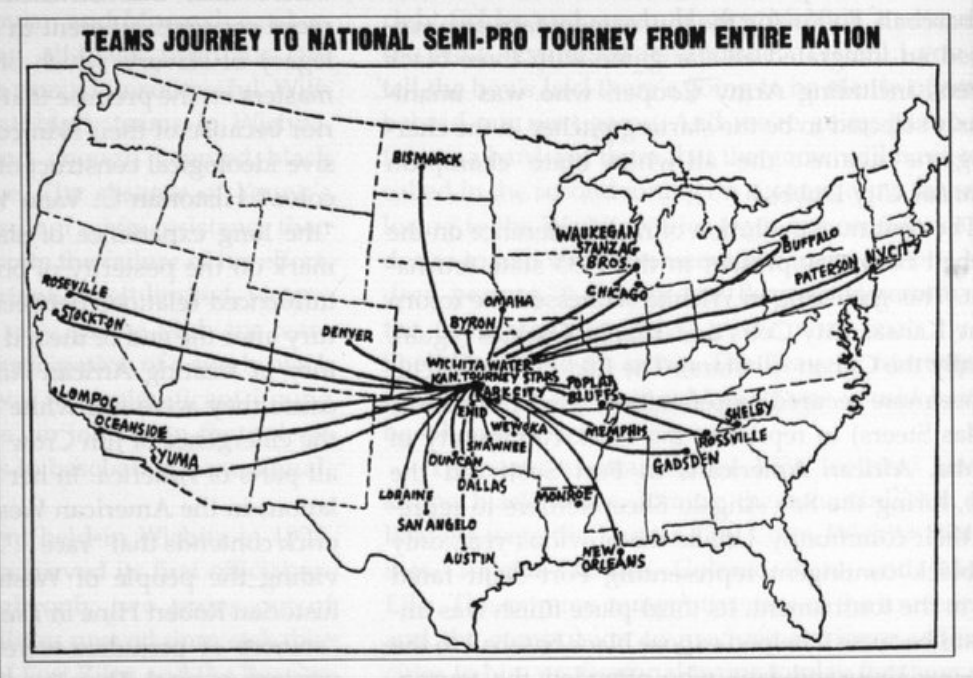 The August 11, 1935 Wichita Eagle includes this map illustrating that teams across the nation traveled to Wichita to compete in the first National Semi-Pro Baseball Tournament