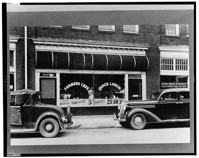 Segregated cafe near the tobacco market in Durham, North Carolina