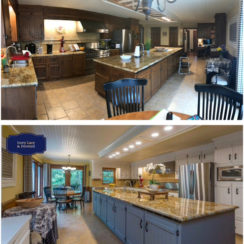 Before and after kitchen cabinets painted